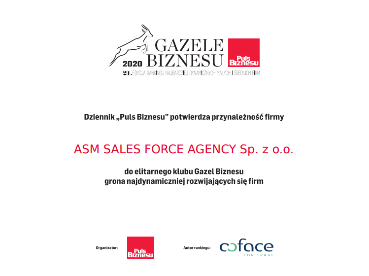 Gazele biznesu - ASM Sales Force Agency laureatem